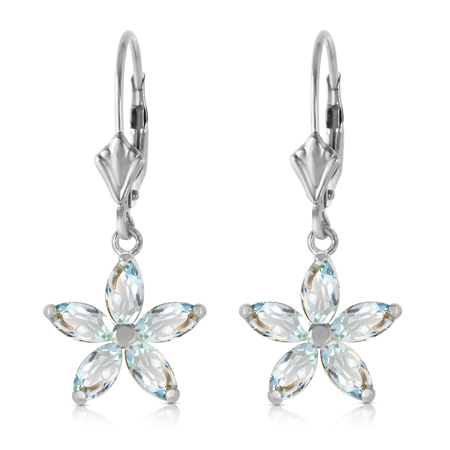 Aquamarine Flower Star Drop Earrings 2.8ctw in 9ct White Gold