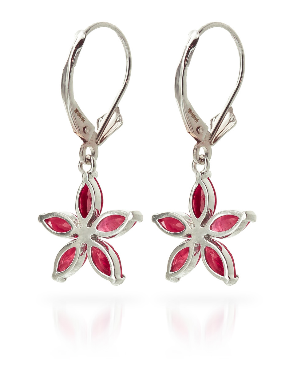 Ruby Flower Star Drop Earrings 2.8ctw in 14K White Gold