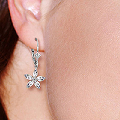White Topaz Flower Star Drop Earrings 2.8ctw in 14K White Gold