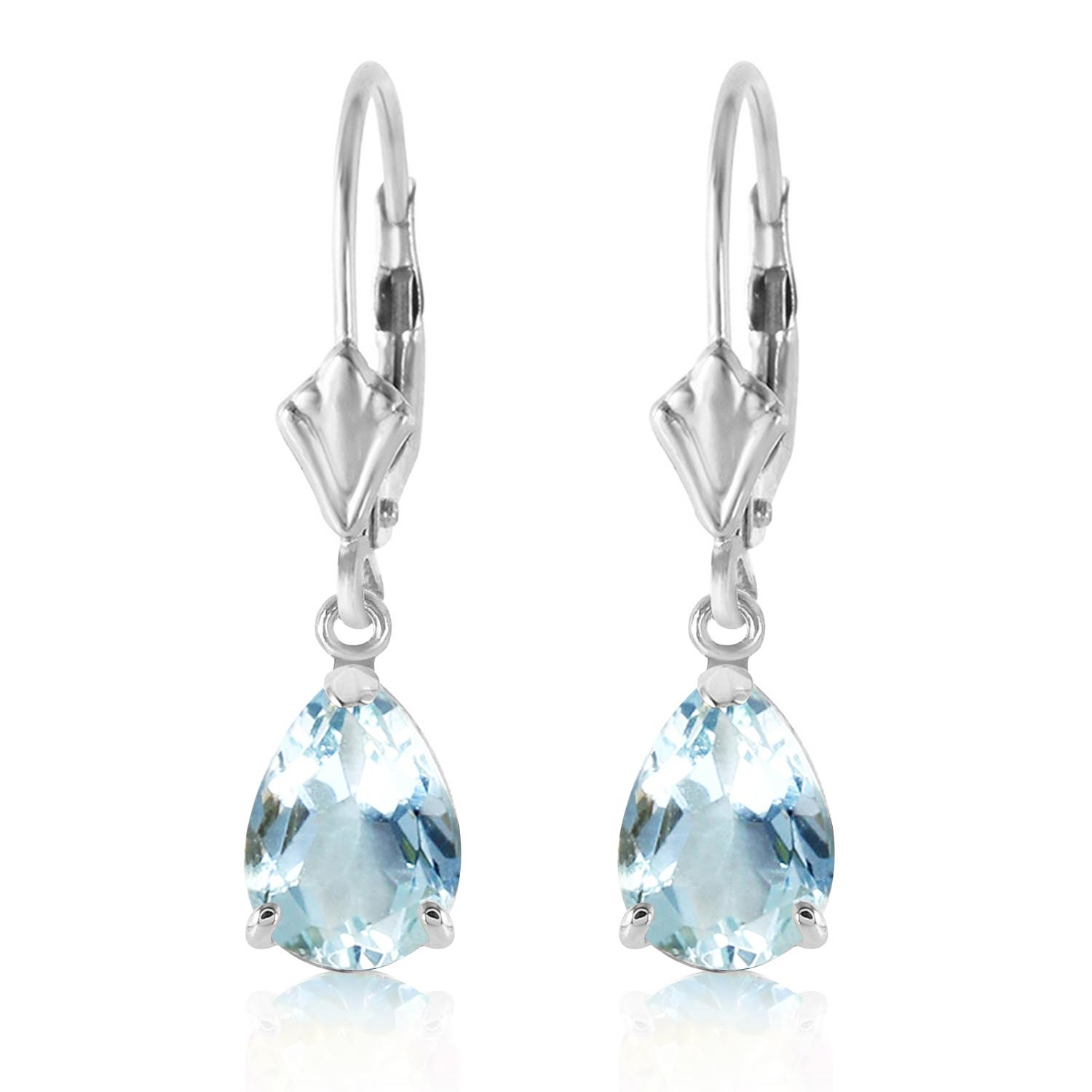 Aquamarine Belle Drop Earrings 2.85ctw in 9ct White Gold