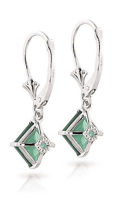 Emerald Alexandra Drop Earrings 2.9ctw in 9ct White Gold