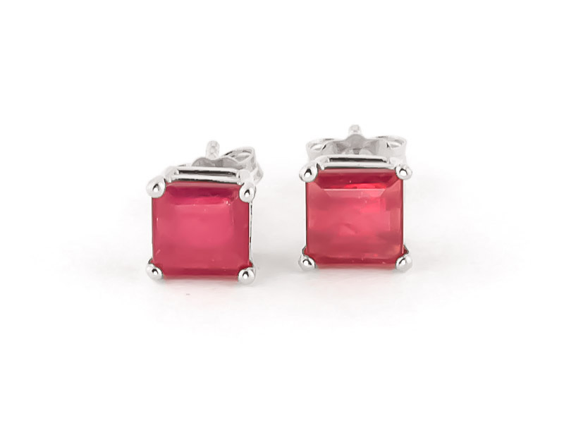 Ruby Alexandra Drop Earrings 2.14Kw in 14K White Gold