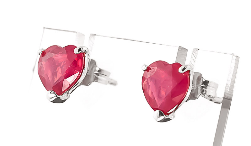 Ruby Heart Stud Earrings 2.14Kw in 14K White Gold