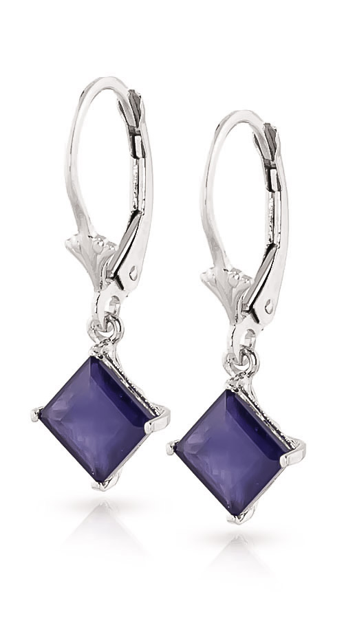 Sapphire Alexandra Drop Earrings 2.9ctw in 9ct White Gold