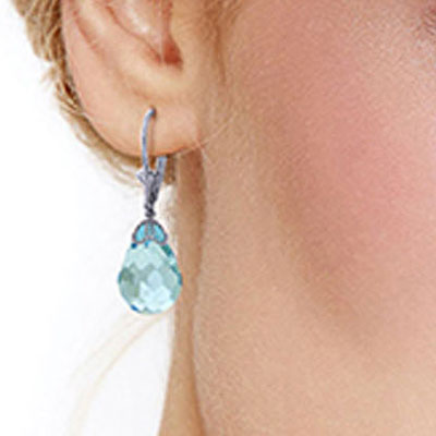 Blue Topaz Crown Briolette Drop Earrings 20.5ctw in 9ct White Gold