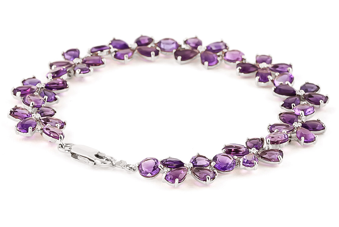 Amethyst Blossom Bracelet 20.7ctw in 9ct White Gold