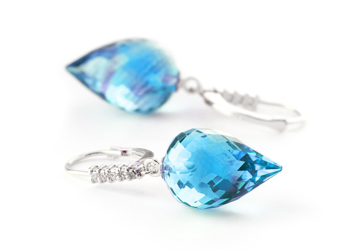 Blue Topaz and Diamond Drop Earrings 22.5ctw in 9ct White Gold