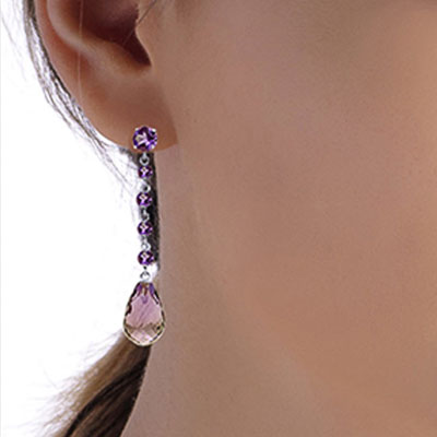 Amethyst by the Yard Drop Earrings 23.0ctw in 14K White Gold