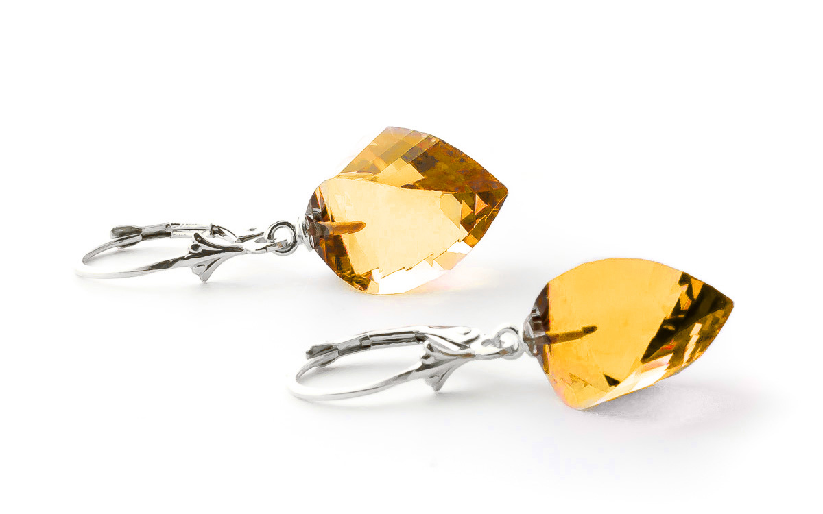 Citrine Briolette Drop Earrings 23.5ctw in 9ct White Gold