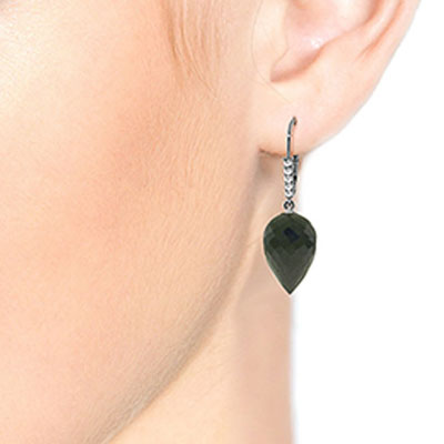 Black Spinel and Diamond Drop Earrings 24.5ctw in 9ct White Gold