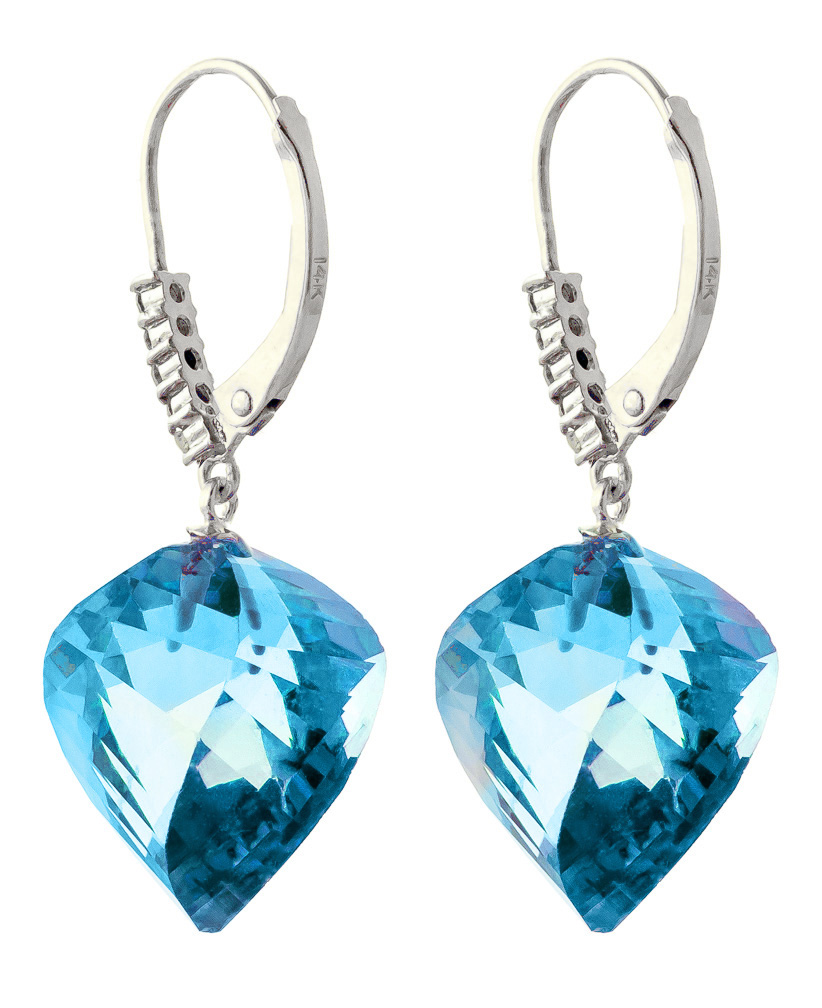 Blue Topaz and Diamond Drop Earrings 27.85ctw in 9ct White Gold