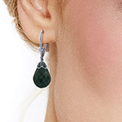 Emerald Crown Briolette Drop Earrings 29.6ctw in 9ct White Gold