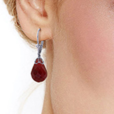 Ruby Crown Briolette Drop Earrings 29.6ctw in 9ct White Gold