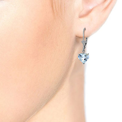 Aquamarine Heart Drop Earrings 3.05ctw in 14K White Gold