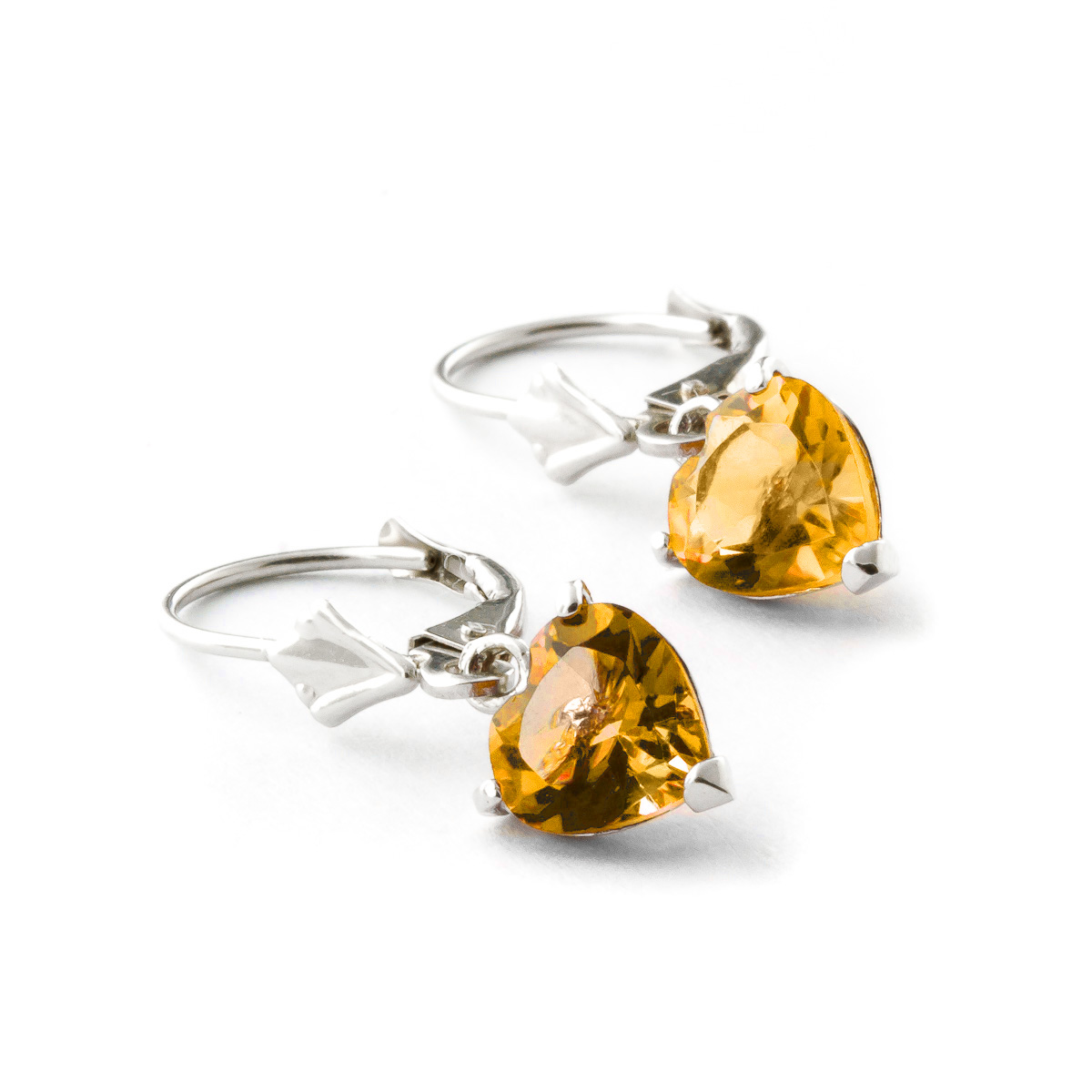 Citrine Heart Drop Earrings 3.05ctw in 9ct White Gold