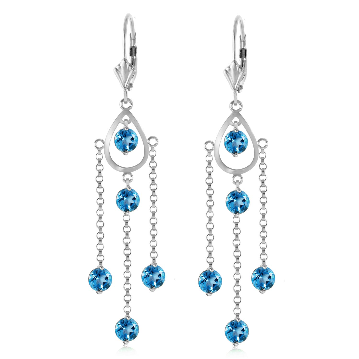 Blue Topaz Faro Drop Earrings 3.0ctw in 14K White Gold