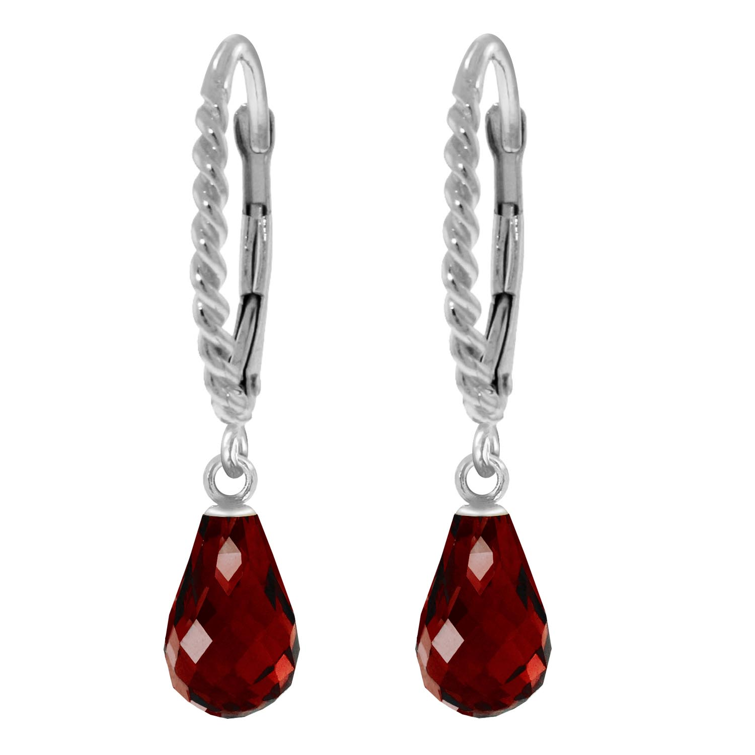 Garnet Plait Stem Briolette Drop Earrings 3.0ctw in 9ct White Gold
