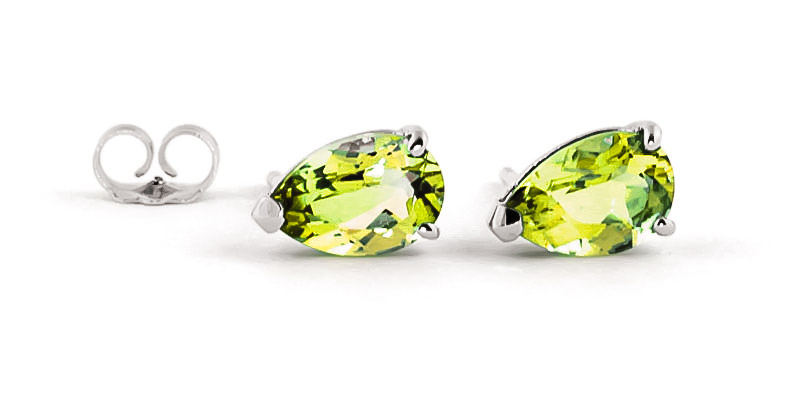 Peridot Stud Earrings 3.0ctw in 9ct White Gold