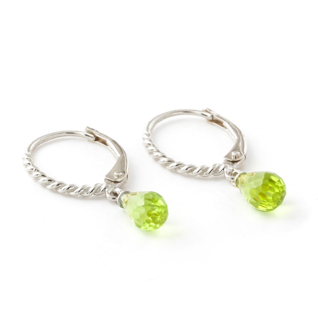 Peridot Plait Stem Briolette Drop Earrings 3.0ctw in 9ct White Gold