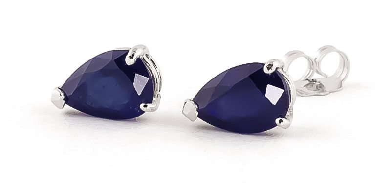 Sapphire Stud Earrings 3.0ctw in 14K White Gold