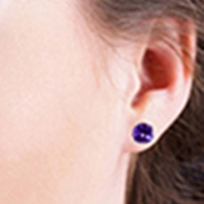 Amethyst Stud Earrings 3.1ctw in 14K White Gold