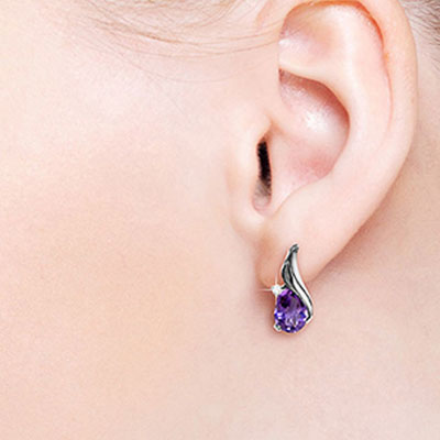 Amethyst and Diamond Stud Earrings 3.1ctw in 9ct White Gold
