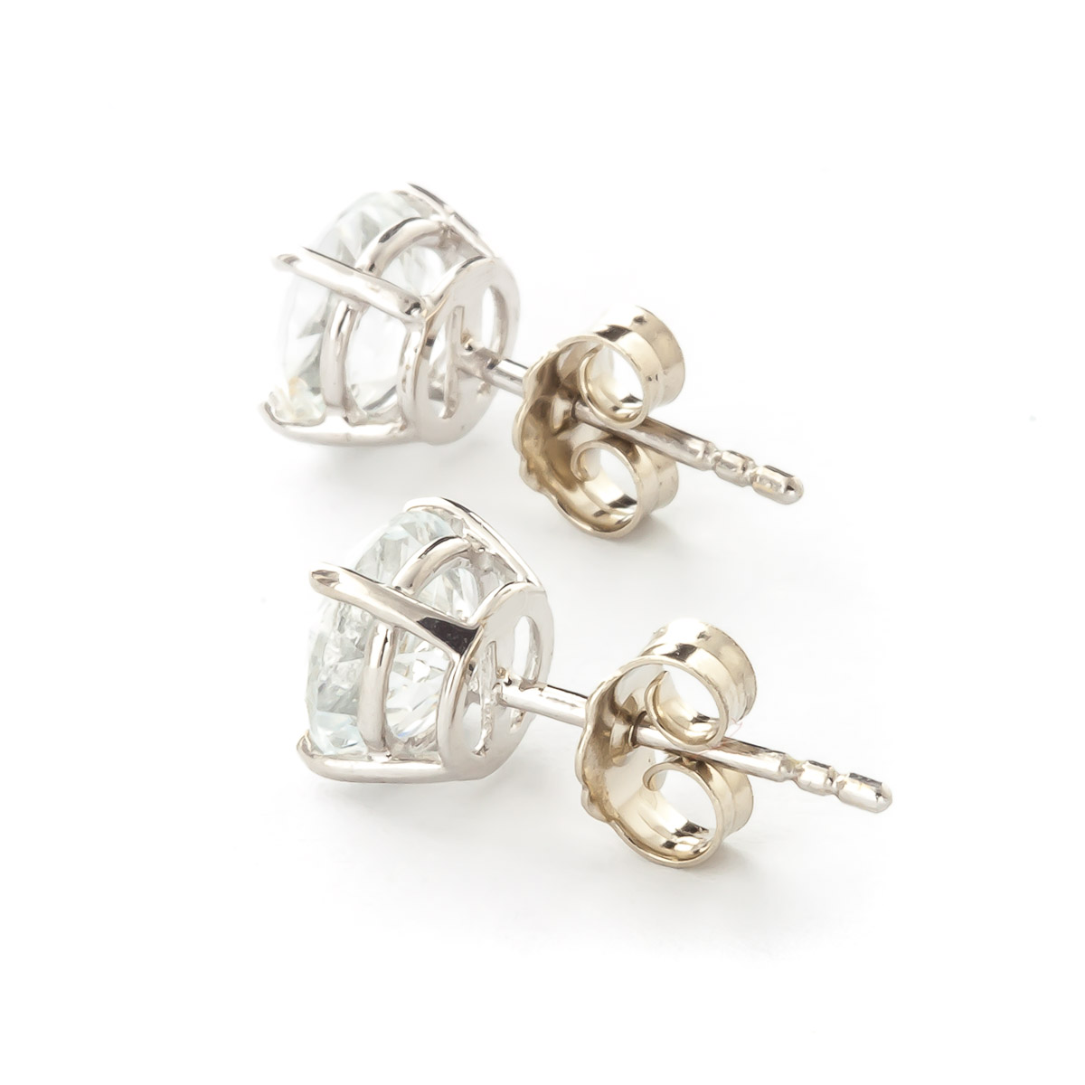 Aquamarine Stud Earrings 3.1ctw in 9ct White Gold