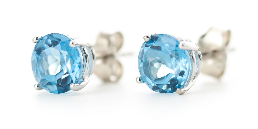 Blue Topaz Stud Earrings 3.1ctw in 9ct White Gold