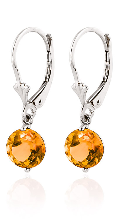 Citrine Drop Earrings 3.1ctw in 14K White Gold