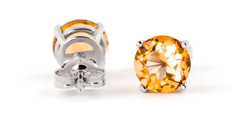 Citrine Stud Earrings 3.1ctw in 14K White Gold