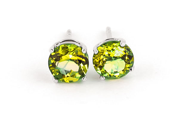 Peridot Stud Earrings 3.1ctw in 9ct White Gold