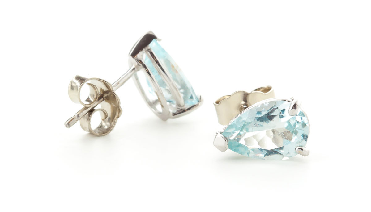 Aquamarine Stud Earrings 3.15ctw in 9ct White Gold