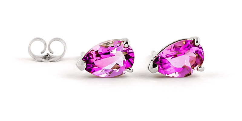 Pink Topaz Stud Earrings 3.15ctw in 9ct White Gold