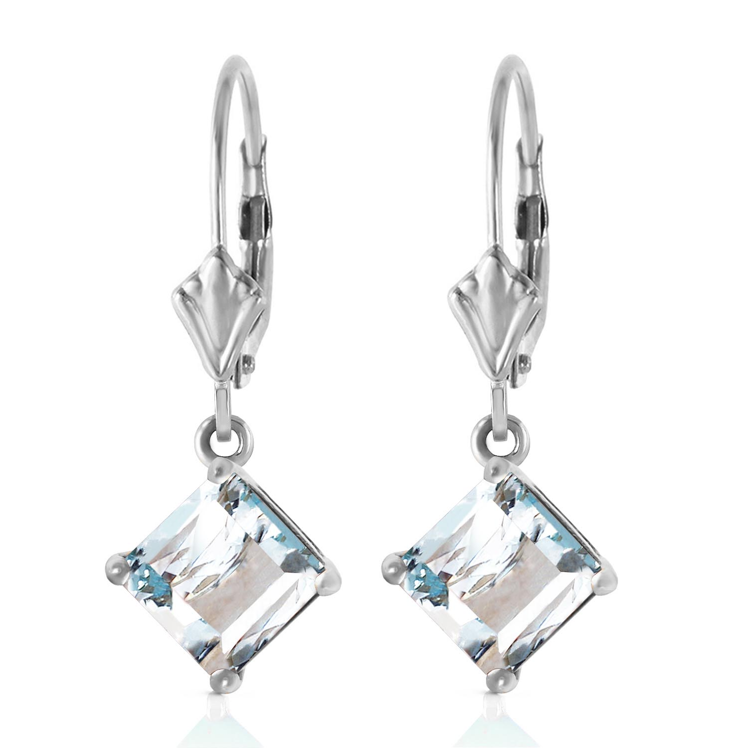 Aquamarine Drop Earrings 3.2ctw in 14K White Gold