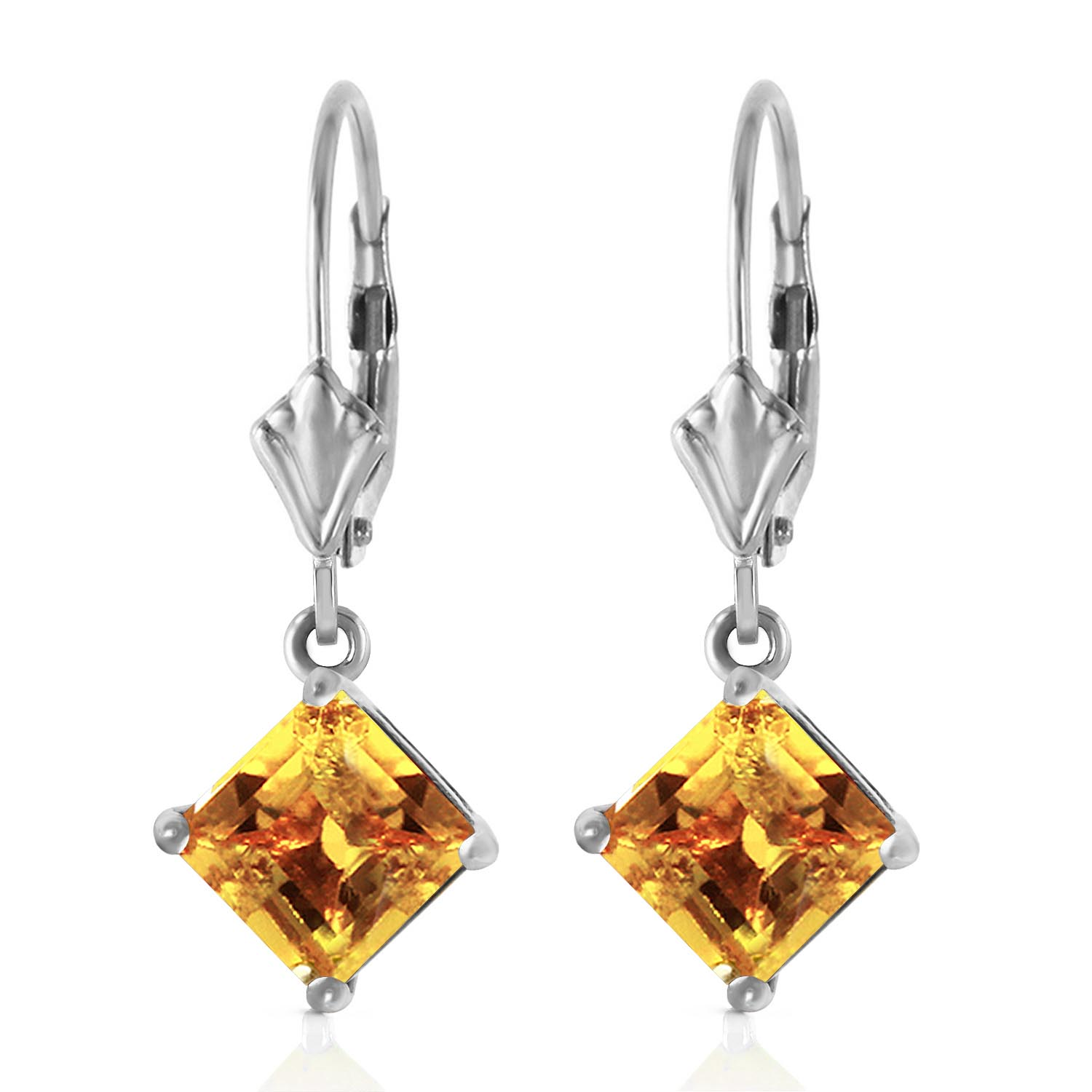 Citrine Drop Earrings 3.2ctw in 14K White Gold