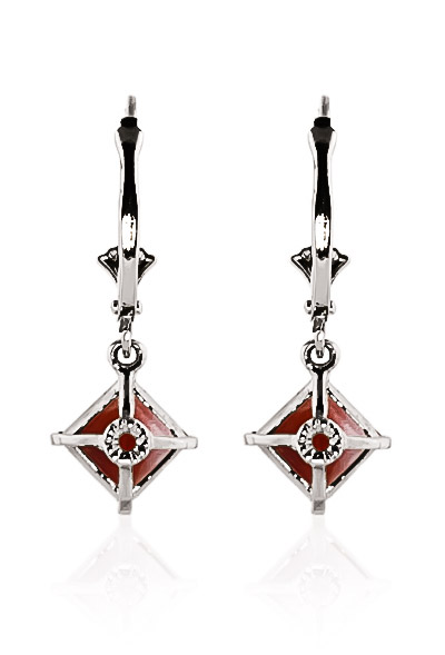 Garnet Drop Earrings 3.2ctw in 14K White Gold