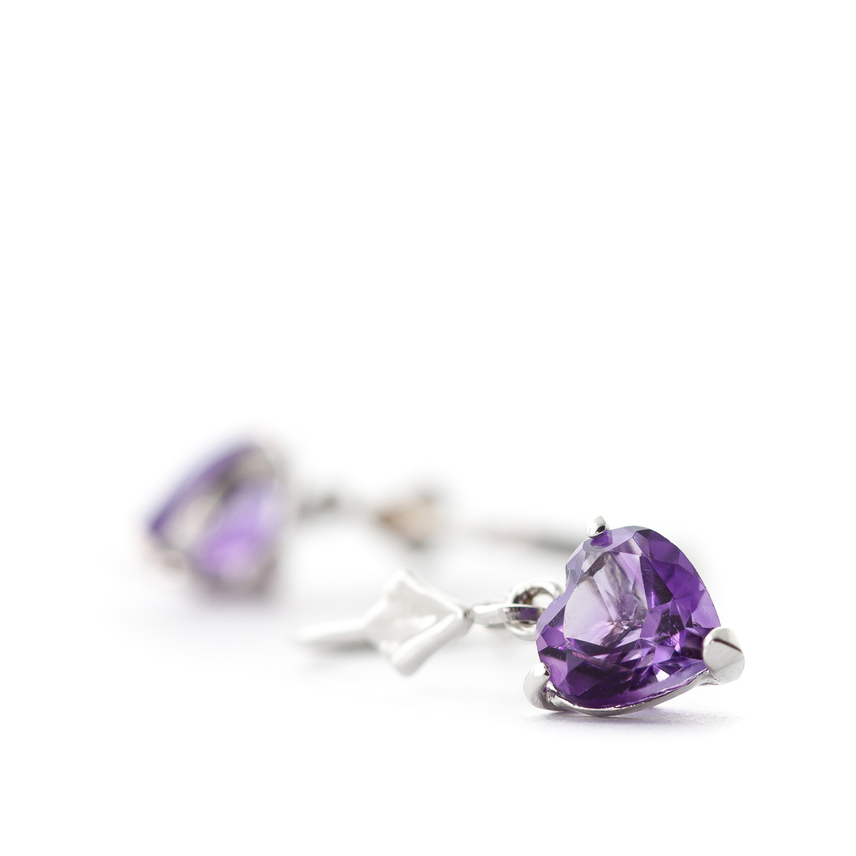 Amethyst Heart Drop Earrings 3.25ctw in 9ct White Gold