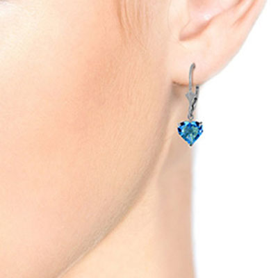 Blue Topaz Heart Drop Earrings 3.25ctw in 9ct White Gold