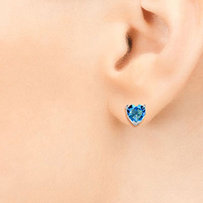 Blue Topaz Heart Stud Earrings 3.25ctw in 9ct White Gold