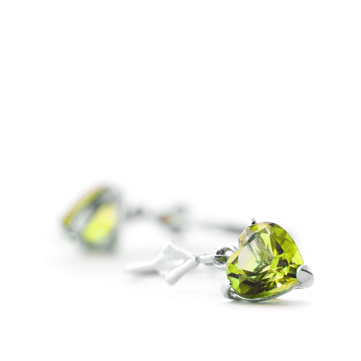Peridot Heart Drop Earrings 3.25ctw in 14K White Gold
