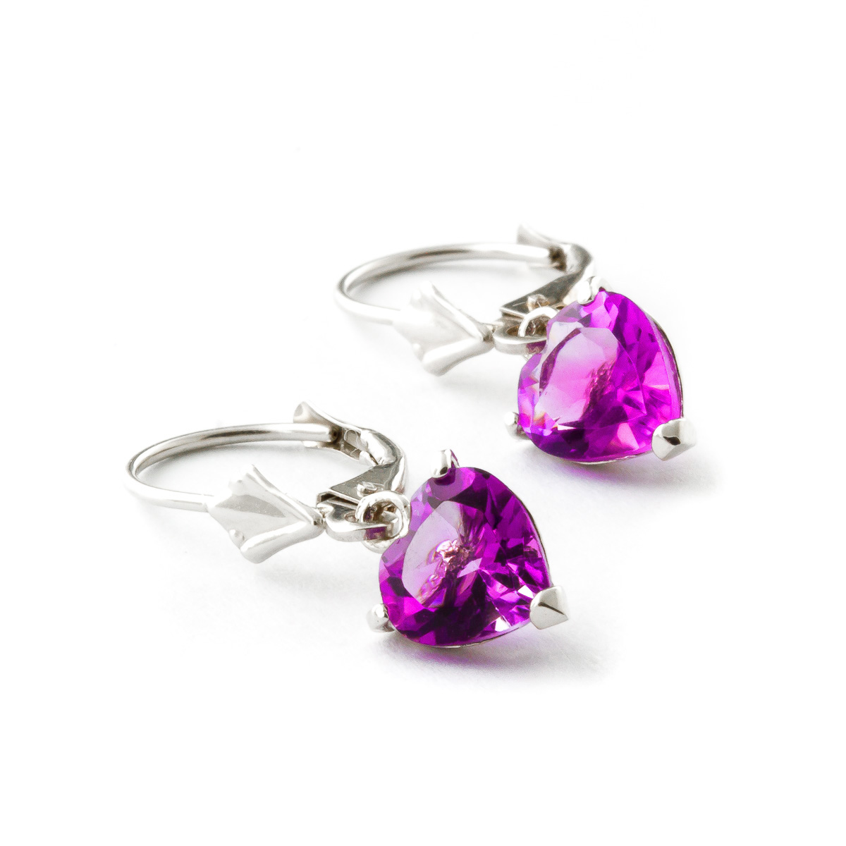 Pink Topaz Heart Drop Earrings 3.25ctw in 9ct White Gold