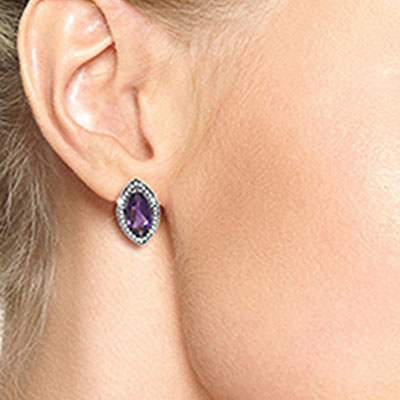 Amethyst and Diamond French Clip Halo Earrings 3.3ctw in 14K White Gold
