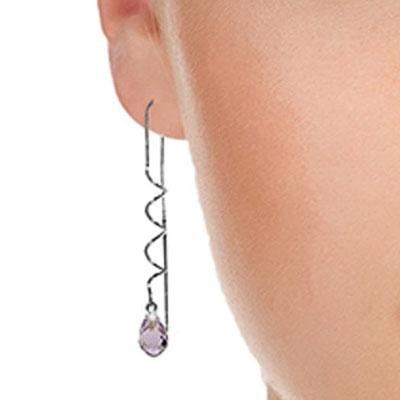 Amethyst Spiral Scintilla Briolette Earrings 3.3ctw in 9ct White Gold