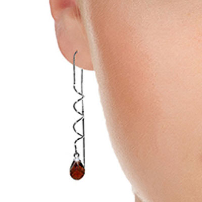 Garnet Spiral Scintilla Briolette Earrings 3.3ctw in 14K White Gold