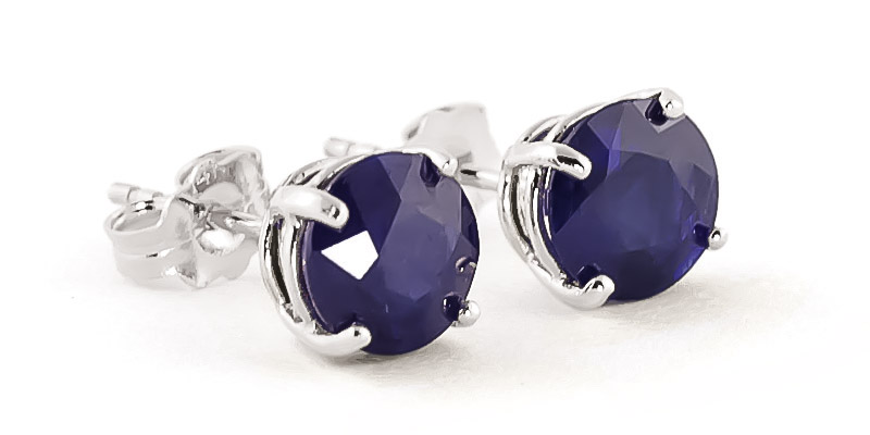 Sapphire Stud Earrings 3.3ctw in 9ct White Gold
