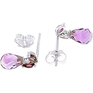 Amethyst Snowdrop Briolette Stud Earrings 3.4ctw in 9ct White Gold