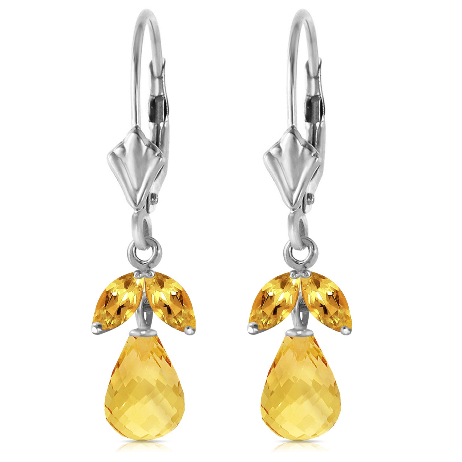 Citrine Snowdrop Briolette Earrings 3.4ctw in 9ct White Gold