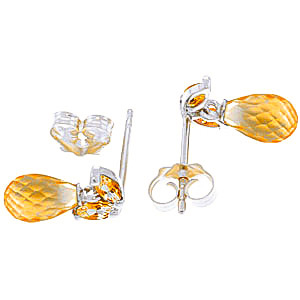 Citrine Snowdrop Briolette Stud Earrings 3.4ctw in 9ct White Gold