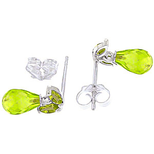 Peridot Snowdrop Briolette Stud Earrings 3.4ctw in 9ct White Gold