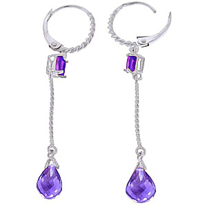 Amethyst Twist Drop Earrings 3.5ctw in 9ct White Gold
